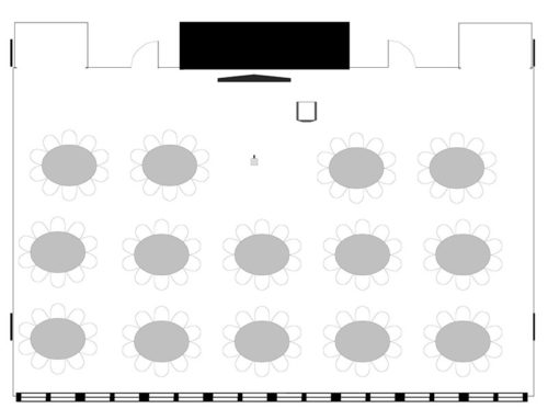 Meeting Rooms 501-502, rounds (ovals) for 140