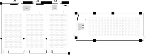 Argyle Suite A1-A2, theatre for 400 with Argyle Suite A3, theatre for 200 and meeting room 201, theatre for 200 as breakout areas