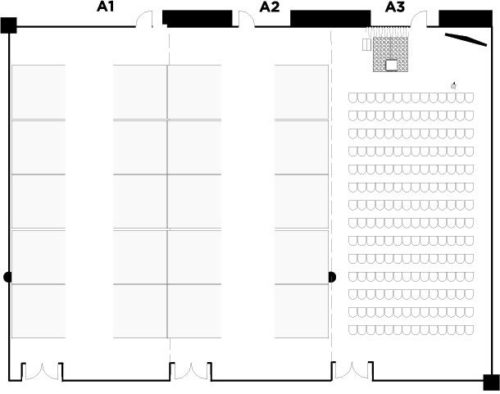 Argyle Suite A3, theatre for 200 with Argyle Suite A1-A2, tradeshow 20x10x10 booths